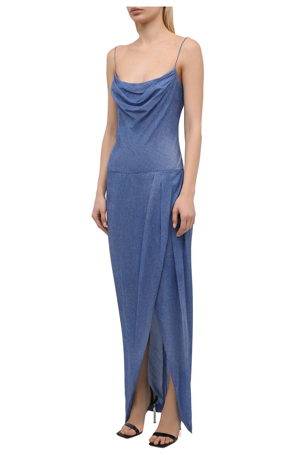 Женское шелковое платье BALMAIN синего цвета, арт. VF0RN040/I667 | Фото 3