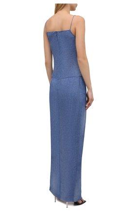 Женское шелковое платье BALMAIN синего цвета, арт. VF0RN040/I667 | Фото 4