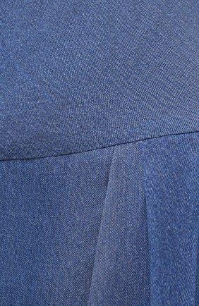 Женское шелковое платье BALMAIN синего цвета, арт. VF0RN040/I667 | Фото 5