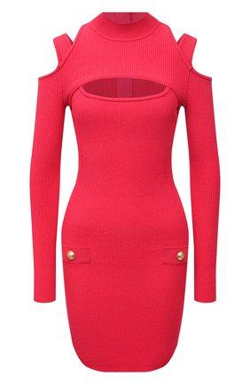 Женское платье из вискозы BALMAIN фуксия цвета, арт. VF0R8100/K211 | Фото 1