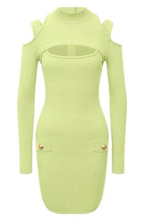 Женское платье из вискозы BALMAIN светло-зеленого цвета, арт. VF0R8100/K211 | Фото 1