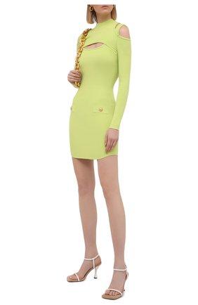 Женское платье из вискозы BALMAIN светло-зеленого цвета, арт. VF0R8100/K211 | Фото 2