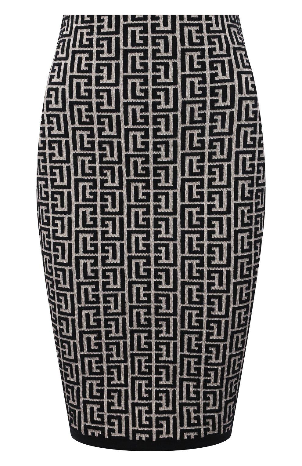 Женская шерстяная юбка BALMAIN черно-белого цвета, арт. VF0LC001/K253 | Фото 1