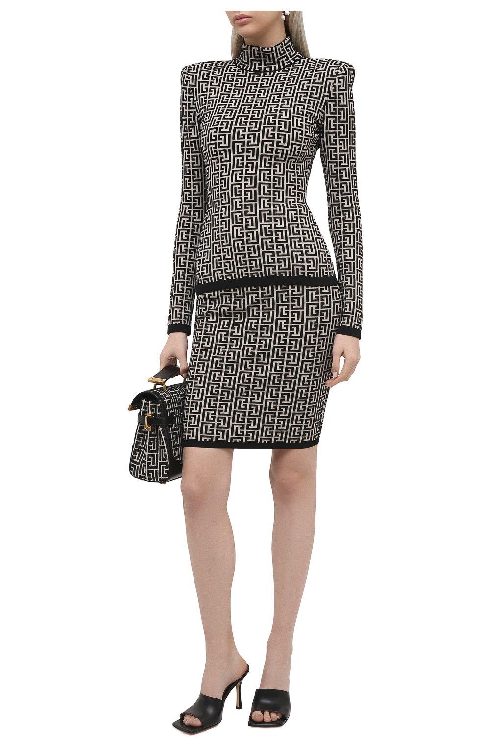 Женская шерстяная юбка BALMAIN черно-белого цвета, арт. VF0LC001/K253 | Фото 2