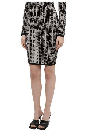 Женская шерстяная юбка BALMAIN черно-белого цвета, арт. VF0LC001/K253 | Фото 3