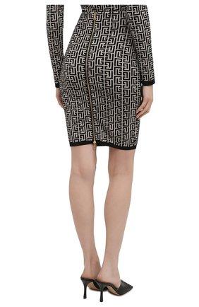 Женская шерстяная юбка BALMAIN черно-белого цвета, арт. VF0LC001/K253 | Фото 4