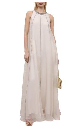 Женское шелковое платье BRUNELLO CUCINELLI бежевого цвета, арт. MF940ADR21 | Фото 2