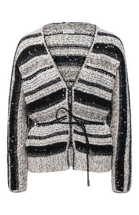 Женский хлопковый кардиган BRUNELLO CUCINELLI черно-белого цвета, арт. MAG371206 | Фото 1