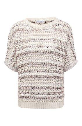 Женский хлопковый пуловер BRUNELLO CUCINELLI бежевого цвета, арт. MAF330200 | Фото 1