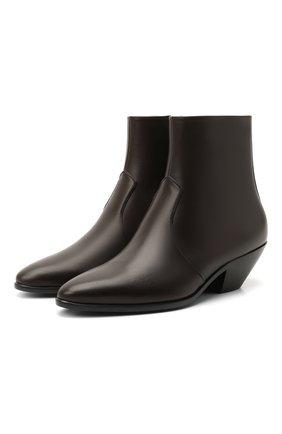 Женские кожаные ботильоны west SAINT LAURENT темно-коричневого цвета, арт. 650181/2PN00   Фото 1