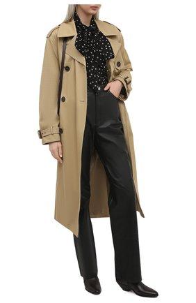 Женские кожаные ботильоны west SAINT LAURENT темно-коричневого цвета, арт. 650181/2PN00   Фото 2