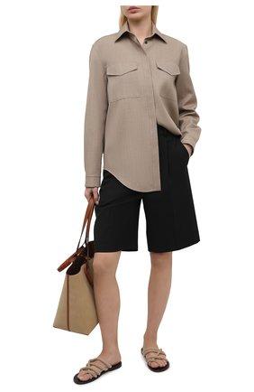 Женские текстильные шлепанцы jude SAINT LAURENT бежевого цвета, арт. 650607/20020 | Фото 2 (Материал внешний: Текстиль; Подошва: Плоская; Каблук высота: Низкий)