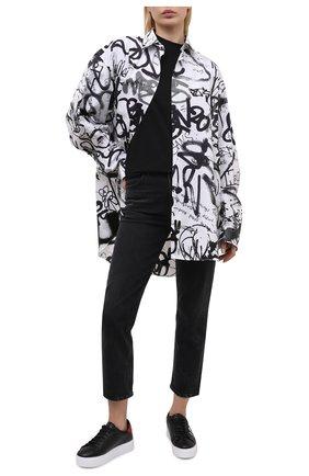 Женские кожаные кеды DSQUARED2 черного цвета, арт. SNW0008 01502228 | Фото 2