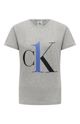 Женская хлопковая футболка CALVIN KLEIN серого цвета, арт. QS6436E   Фото 1