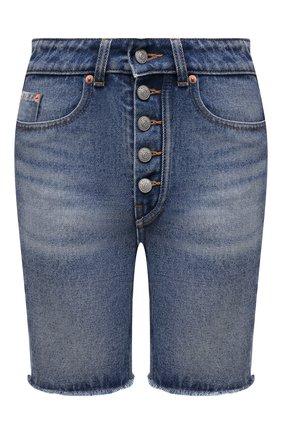 Женские джинсовые шорты MM6 синего цвета, арт. S62MU0030/S30589 | Фото 1 (Материал внешний: Хлопок, Деним; Стили: Кэжуэл; Кросс-КТ: Деним; Женское Кросс-КТ: Шорты-одежда; Детали: Потертости; Длина Ж (юбки, платья, шорты): До колена)