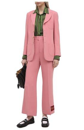 Женские брюки из вискозы GUCCI розового цвета, арт. 622206/ZKR01   Фото 2