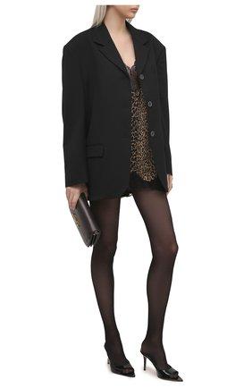 Женское шелковое платье SAINT LAURENT леопардового цвета, арт. 647999/Y5C26 | Фото 2