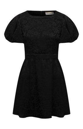 Женское шелковое платье SAINT LAURENT черного цвета, арт. 647954/Y7B33 | Фото 1
