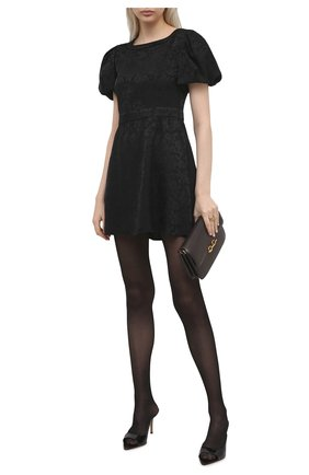Женское шелковое платье SAINT LAURENT черного цвета, арт. 647954/Y7B33 | Фото 2
