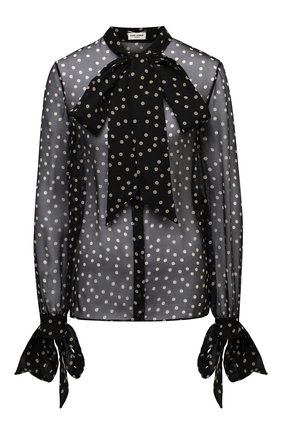 Женская шелковая блузка SAINT LAURENT черно-белого цвета, арт. 640877/Y5C42 | Фото 1
