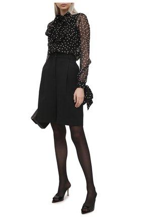 Женская шелковая блузка SAINT LAURENT черно-белого цвета, арт. 640877/Y5C42 | Фото 2
