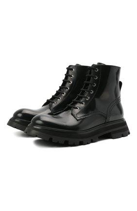 Женские кожаные ботинки ALEXANDER MCQUEEN черного цвета, арт. 657569/WHZ80 | Фото 1 (Подошва: Платформа; Материал внутренний: Натуральная кожа; Женское Кросс-КТ: Военные ботинки, Байкеры-ботинки; Каблук высота: Низкий)