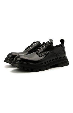 Женская кожаные ботинки ALEXANDER MCQUEEN черного цвета, арт. 657568/WHZ80 | Фото 1 (Материал внутренний: Натуральная кожа; Материал внешний: Кожа; Подошва: Платформа; Женское Кросс-КТ: Байкеры-ботинки; Каблук высота: Низкий)