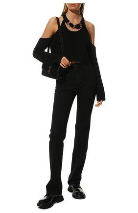 Женская кожаные ботинки ALEXANDER MCQUEEN черного цвета, арт. 657568/WHZ80 | Фото 2 (Материал внутренний: Натуральная кожа; Материал внешний: Кожа; Подошва: Платформа; Женское Кросс-КТ: Байкеры-ботинки; Каблук высота: Низкий)