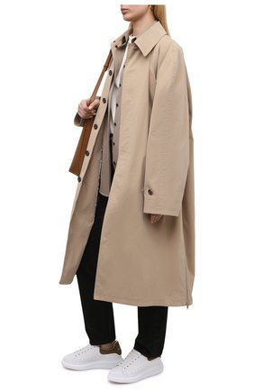 Женские кожаные кеды ALEXANDER MCQUEEN белого цвета, арт. 553770/WHGP7 | Фото 2 (Материал внутренний: Натуральная кожа; Подошва: Платформа)