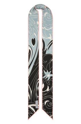 Женский шелковый шарф-бандо EMILIO PUCCI светло-голубого цвета, арт. 1EGB34/1ED34 | Фото 1
