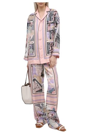 Женские шелковые брюки EMILIO PUCCI розового цвета, арт. 1ERT40/1E721 | Фото 2