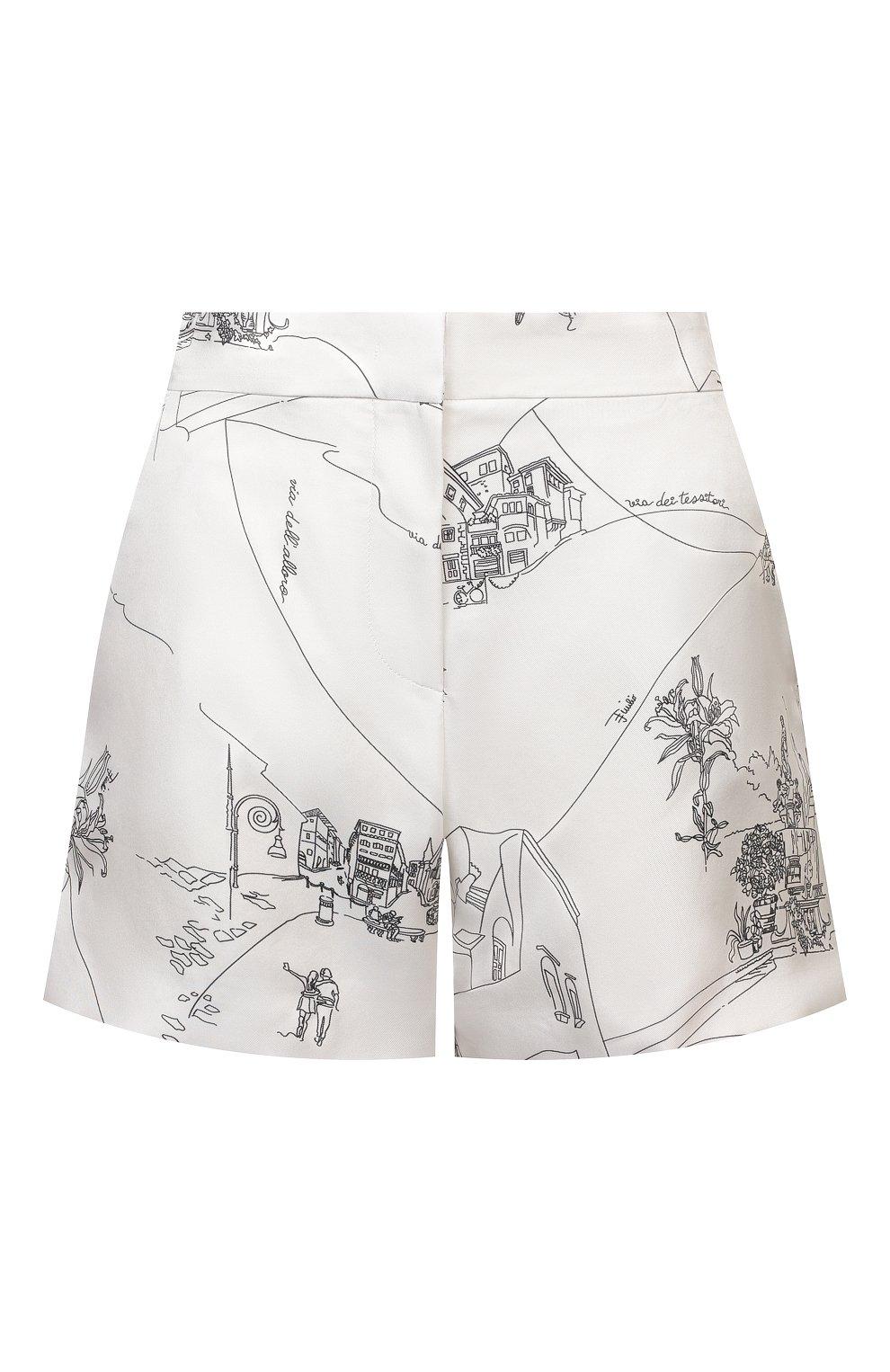 Женские шелковые шорты EMILIO PUCCI черно-белого цвета, арт. 1ERU15/1E741   Фото 1