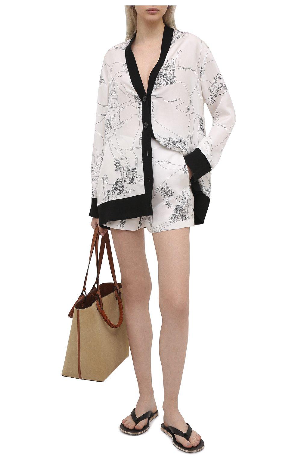 Женские шелковые шорты EMILIO PUCCI черно-белого цвета, арт. 1ERU15/1E741   Фото 2