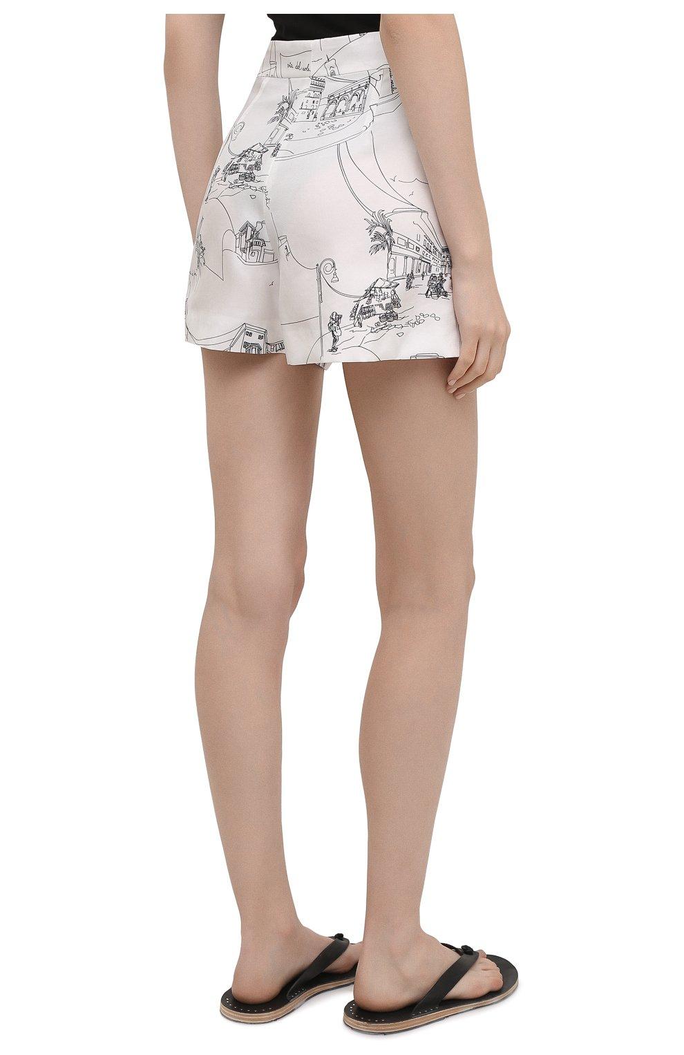 Женские шелковые шорты EMILIO PUCCI черно-белого цвета, арт. 1ERU15/1E741   Фото 4