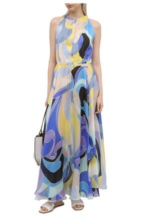 Женское шелковое платье EMILIO PUCCI голубого цвета, арт. 1EWI73/1E782 | Фото 2