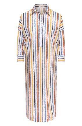 Женское хлопковое платье TAK.ORI разноцветного цвета, арт. DRT82043CS073SS21 | Фото 1 (Длина Ж (юбки, платья, шорты): До колена; Рукава: 3/4; Материал внешний: Хлопок; Стили: Кэжуэл; Женское Кросс-КТ: платье-рубашка, Платье-одежда; Случай: Повседневный)