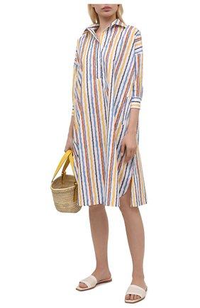 Женское хлопковое платье TAK.ORI разноцветного цвета, арт. DRT82043CS073SS21 | Фото 2 (Длина Ж (юбки, платья, шорты): До колена; Рукава: 3/4; Материал внешний: Хлопок; Стили: Кэжуэл; Женское Кросс-КТ: платье-рубашка, Платье-одежда; Случай: Повседневный)