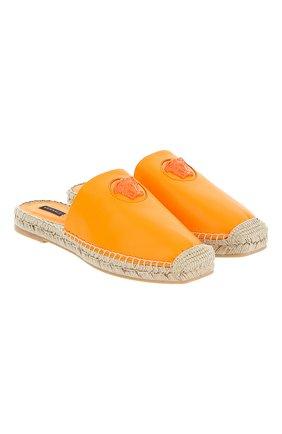 Женские кожаные эспадрильи VERSACE оранжевого цвета, арт. DST639E/DVT2P | Фото 1