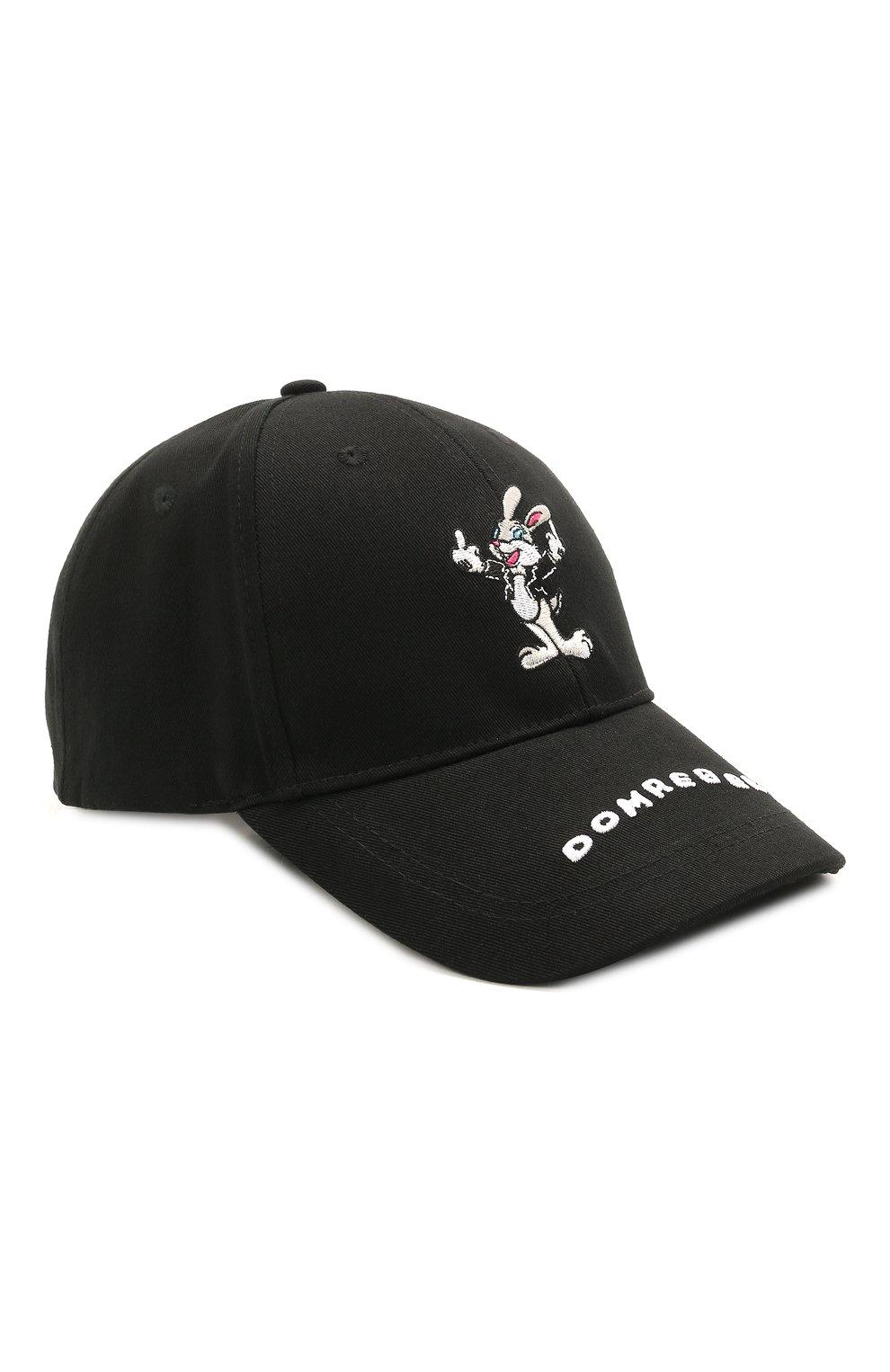Мужской хлопковая бейсболка DOMREBEL черного цвета, арт. RABBIT/CAP | Фото 1
