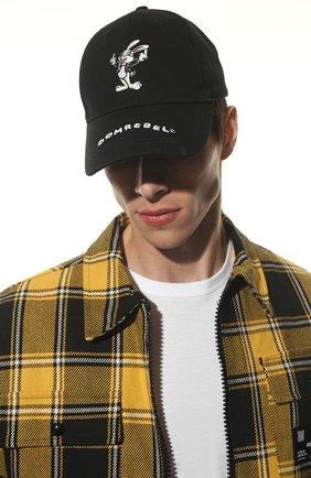 Мужской хлопковая бейсболка DOMREBEL черного цвета, арт. RABBIT/CAP | Фото 2