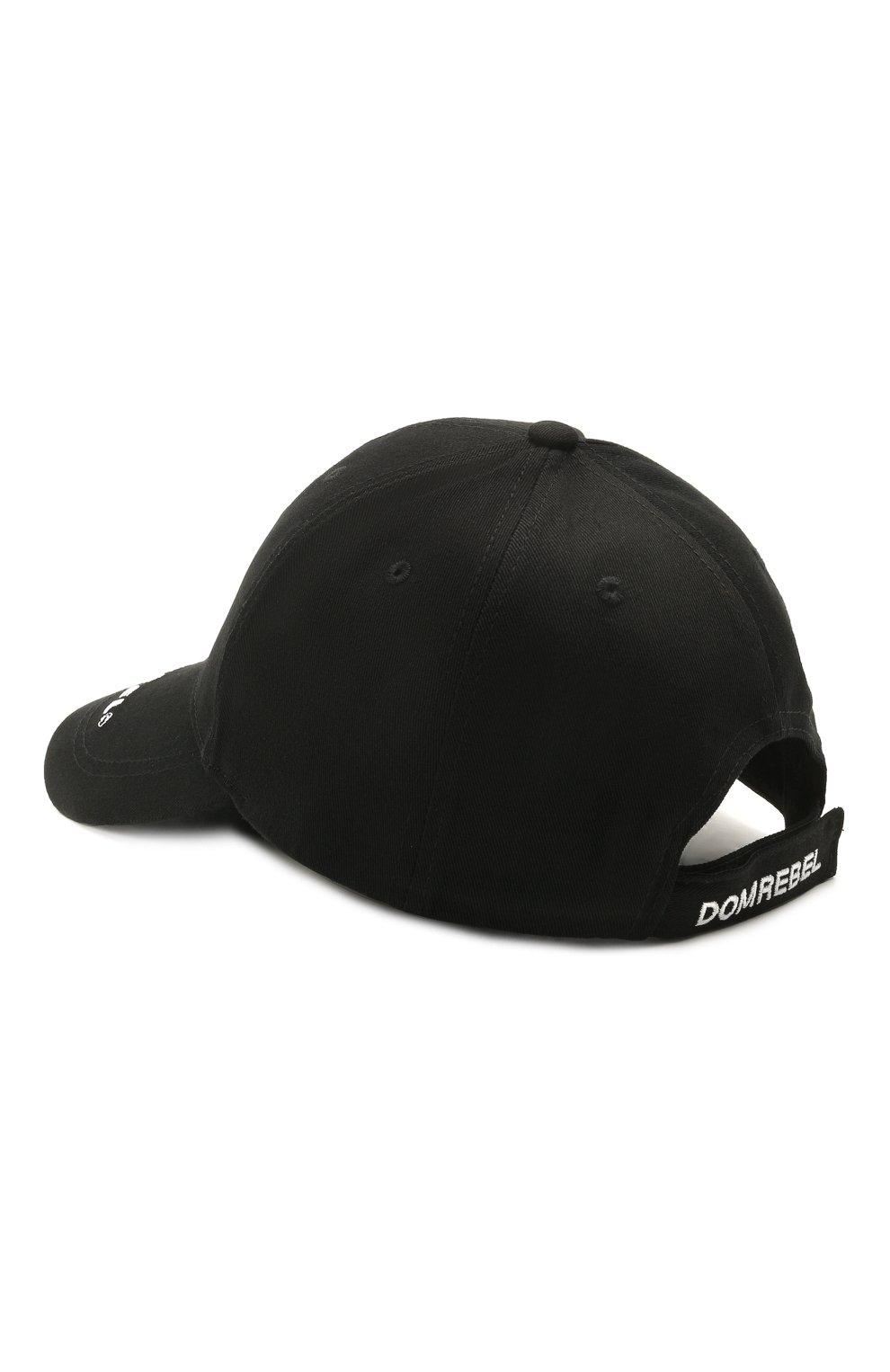 Мужской хлопковая бейсболка DOMREBEL черного цвета, арт. RABBIT/CAP | Фото 3