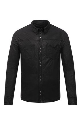 Мужская кожаная рубашка GIORGIO BRATO черного цвета, арт. GU21S9896VBRUSH | Фото 1