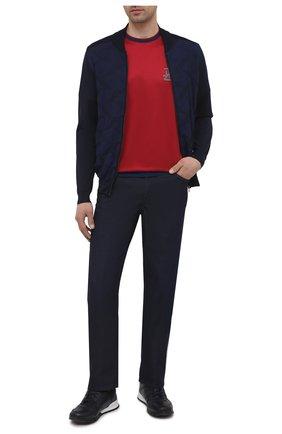 Мужской кардиган из шелка и хлопка ZILLI темно-синего цвета, арт. MBV-BL095-WAVE1/ML01 | Фото 2 (Материал внешний: Шелк, Хлопок; Рукава: Длинные; Длина (для топов): Стандартные; Мужское Кросс-КТ: Кардиган-одежда; Стили: Кэжуэл)