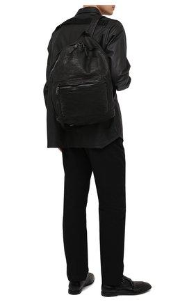 Мужской кожаный рюкзак GIORGIO BRATO черного цвета, арт. BS21S2401V   Фото 2 (Ремень/цепочка: На ремешке; Материал: Натуральная кожа)