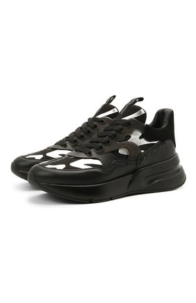 Мужские комбинированные кроссовки ALEXANDER MCQUEEN черного цвета, арт. 645884/WHXIX   Фото 1
