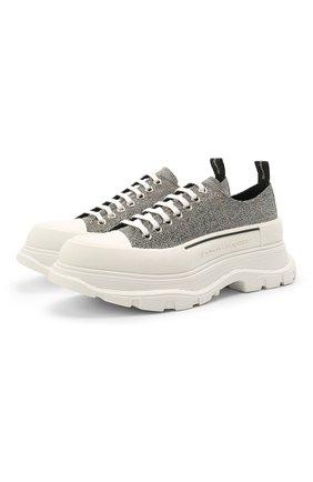 Мужские текстильные кроссовки ALEXANDER MCQUEEN серого цвета, арт. 652757/W4PE1 | Фото 1 (Материал внешний: Текстиль; Материал внутренний: Натуральная кожа; Подошва: Массивная; Стили: Гранж)