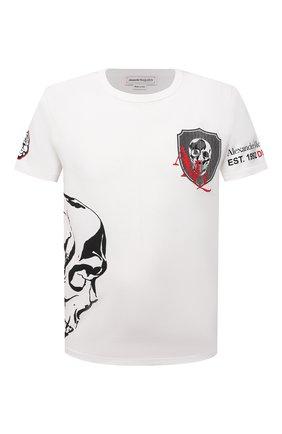 Мужская хлопковая футболка ALEXANDER MCQUEEN белого цвета, арт. 650423/QQZ65 | Фото 1 (Материал внешний: Хлопок; Длина (для топов): Стандартные; Рукава: Короткие; Принт: С принтом; Стили: Панк)