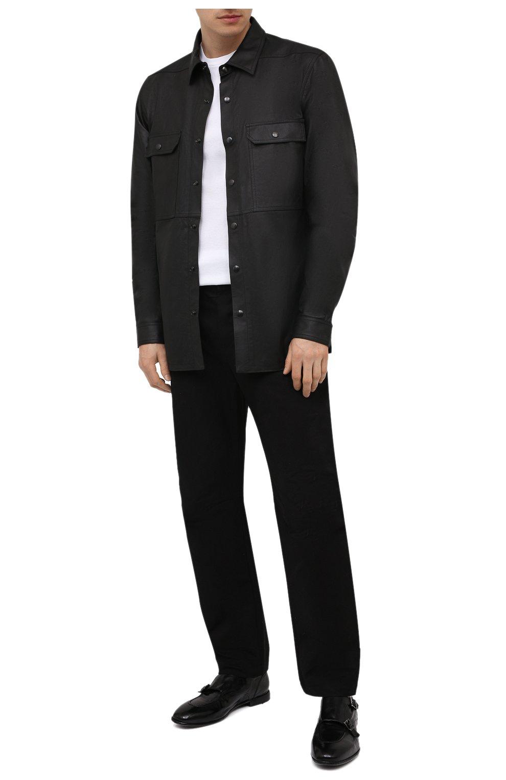 Мужские кожаные монки LEMARGO черного цвета, арт. DB10A/RANCH   Фото 2