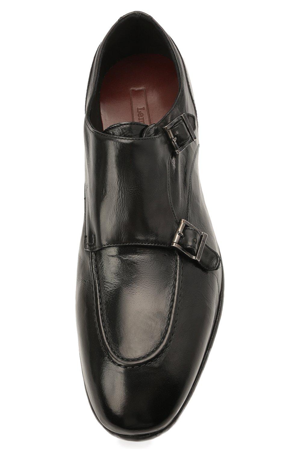 Мужские кожаные монки LEMARGO черного цвета, арт. DB10A/RANCH   Фото 5