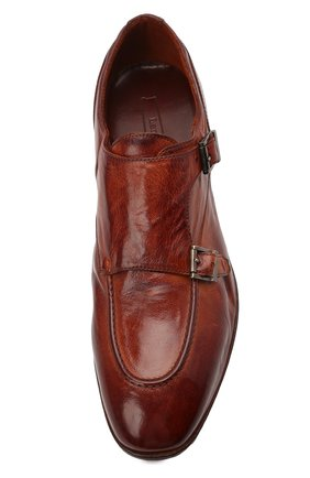 Мужские кожаные монки LEMARGO коричневого цвета, арт. DB10A/RANCH   Фото 5